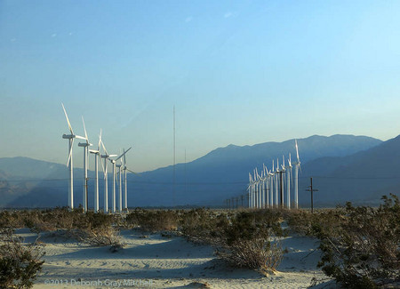 Wind turbines near Palm Springs,California, appear as the graves of countless soldiers who have died in the quest for energy.